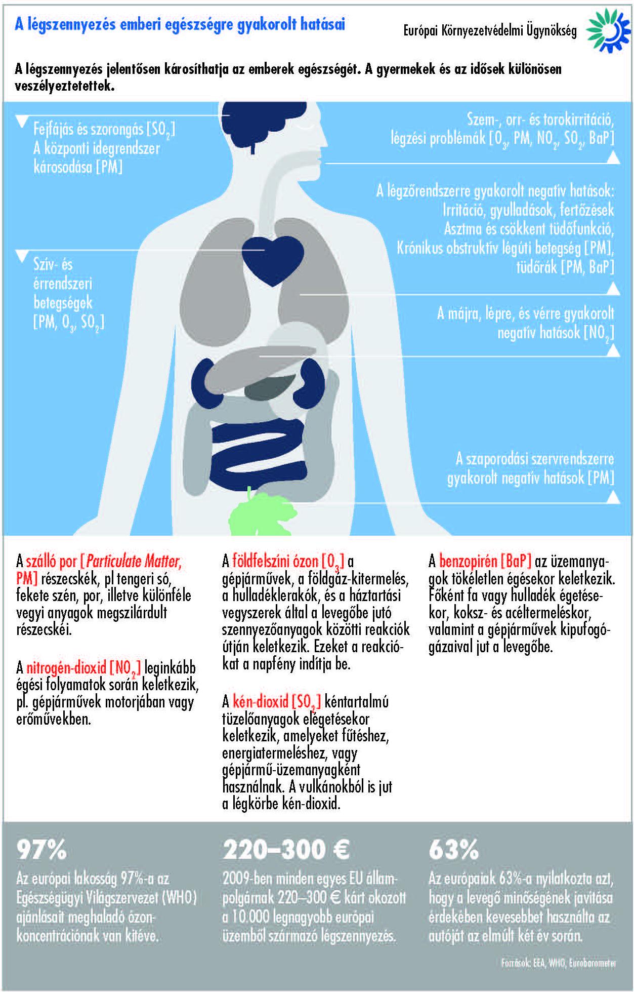 A légszennyezés káros hatásai az emberi szervezetre.