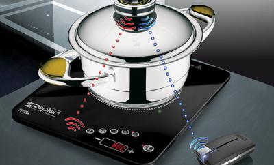 Zepter Masterpiece edény indukciós főzőlappal és konyhai távjelzővel.
